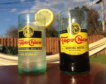 set of 4 Topo Chico bottles-turned-glasses (hand cut)