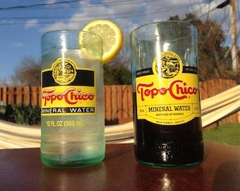 Hand cut Topo Chico drinking glasses