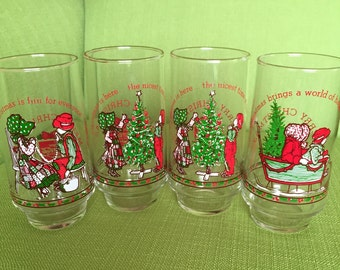 Vintage 70s Hollie Hobbie Christmas Drinking Glasses by Coke 1977 Set of 4