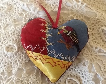 Vintage hand made crazy quilt pin cushion/deco