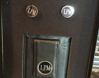 Free Shipping. Black Leather Wallet and Cufflinks Set. Groomsmen Gift. Personalized Groomsmen Gift. Birthday Gift For Him. Best Man.