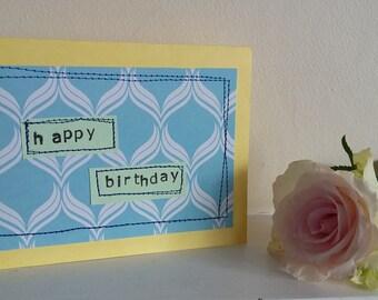 happy birthday stitched greeting card