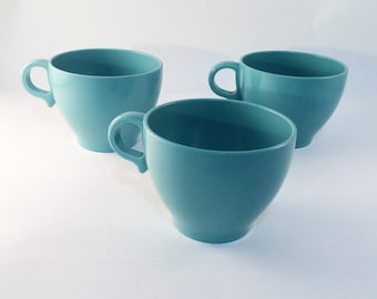 Melmac Tea or Coffee Cups Melamine Made in Canada Robin's Egg Blue Vintage  Set of 3