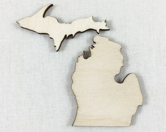 Michigan, Unfinished Wood Michigan Laser Cut Shape, DIY Craft Supply, Many Size Options