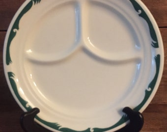 Homer Laughlin Best China Grill Plate with green trim