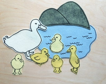 5 Little Ducks- Flannel Story- Feltboard Story-