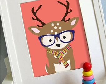 Deer printable 8x10 children's art, Instant Download Printable Animal Nursery Decor, Children's playroom art