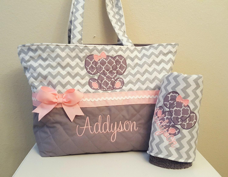 gray chevron elephant diaper bag baby girl xl by kimmykylieco. Black Bedroom Furniture Sets. Home Design Ideas