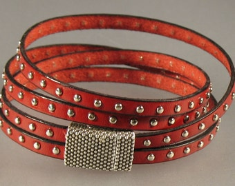 Double Studded Leather Wrap Bracelet