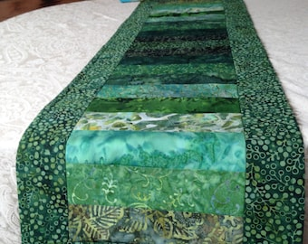 Green batik table runner
