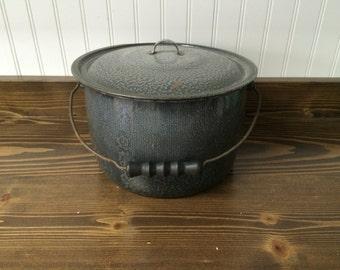 Graniteware stock pot, enamelware pot, large pot, gray, wood handle