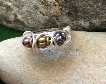 Sterling Brass Copper and Gold Ring