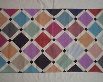 Handwoven Cotton Dhurrie Rug - 3x5, Multicolor Rug, Southwestern Rug, Indian Rug, Navajo Rug, Boho Rug