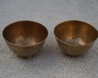 Brass Bowls/Dishes - Etched Design - Vintage Brass