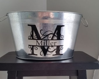 11 Quart Personalized Galvanized Metal Tub / Beverage Bucket