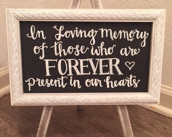 Memory Table Chalkboard Sign