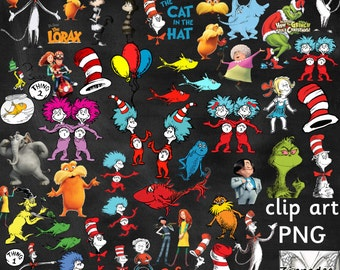 Dr Seuss Clipart - Cat in the Hat / Lorax / Grinch / Horton Hears a Who - 51 images
