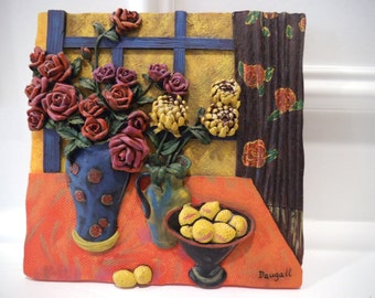 Daugall artist - Textured in Relief Ceramic Tiles - Set of 2