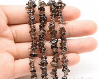 Smoky quartz beads, 3-5mm chip, loose quartz beads strand, A grade brown stone beads, natural gemstone beads for making necklace, SQZ4010