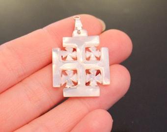 Square mother of pearl Jerusalem cross