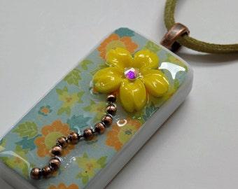Yellow Flower Pendant Necklace, Domino Pendant