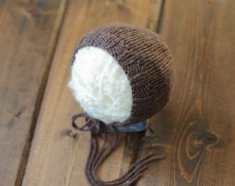 Chocolate Newborn Knit Bonnet, Photography Prop