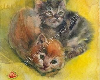 "Cute kittens-ORIGINAL watercolor by Milena Valchanova-7,8""x7,8""(20/20sm)-Artist artwork-One of a kind"