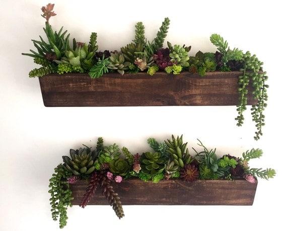Succulent Arranagement Artificial Succulents in Rustic Wood