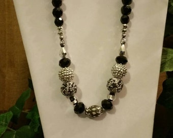 Stylish Black and Silver Beaded Necklace, Earring Set