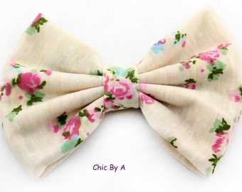 """Beige,Blue,Light Blue,Perfectly 5"""" Floral,Chic,European,Floral Printed Cotton Bow,Vintage Floral Hair Bow,Bow Tie,Baby,Girls,Toddler"""