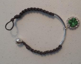 Leather and Floating Jewel Bracelet