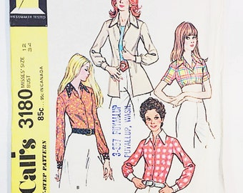 70sKnit Blouse Pattern | McCall's 3180 Misses Shirts Pattern | 1972 Sewing Pattern