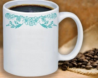 Simple Blue Lace Flowers Ceramic Coffee Mug