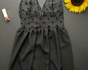 Black babydoll, Lingerie, Underwear, Polka dots
