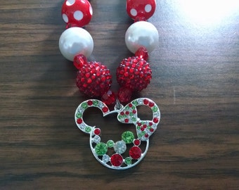 Mouse Inspired Christmas Toddler Bubblegum Necklace.  Rhinestone Mouse Pendant