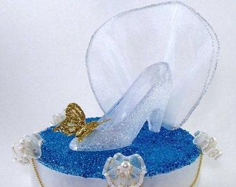 Cinderella Slipper cake topper/Cinderella wedding cake topper/Quinceañera cake topper/ Sweet 16 Cinderella Fairy Tale cake topper