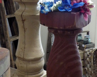 Beautiful Pair of Handmade Rustic Balustrade Candlesticks with Candles