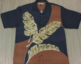 TOMMY BAHAMA Shirt Copyrighted Print Three Banana Leaves RELAX Tropical Palm Tree Vintage Mens - M - Oahu Lew's Shirt Shack