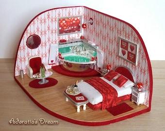 Dollhouse roombox 1.48 scale, diorama quarter scale, miniature fully artisan, unique piece