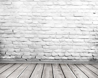 white brick wall photography backdrop,portrait photoshoot props,wihte wood floor Photography studio background, canvas backdrops D-6145
