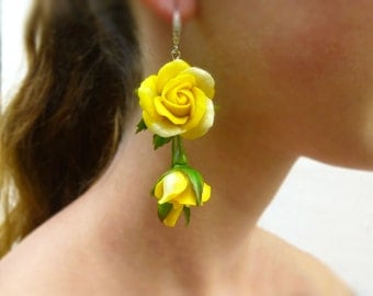 Yellow earrings Yellow flower earrings Floral earrings Long earrings Flower earrings Yellow jewelry  Rose earrings Flowers jewelry Gift