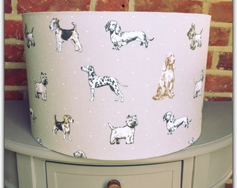 Custom Handmade Lampshade Vintage Style Dogs Print Linen - 20/30/40cm drum lamp shade