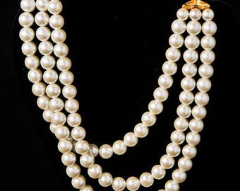 Richeleui Three Strand Pearl Necklace