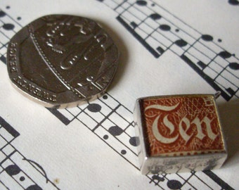 "1960's vintage 10 shilling note ""Break this in emergency"", 925 sterling silver bracelet charm."