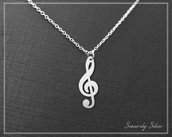 Music Note Necklace, Music Necklace, Music Jewelry, Music Gift, Sheet Music Necklace, Treble Clef Necklace