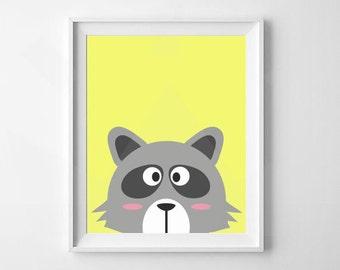 Raccoon Print | Animal Nursery Print | Woodland Nursery | Nursery, Child's Room Decor | Digital Download