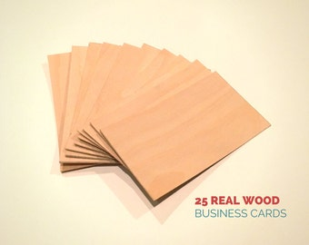 Blank Wood Cards - Set of 25 - Wood Business Cards - Wood Tags - Blank Cards - Birch Veneer - Handmade - Business Cards