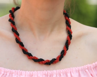 Red black Bead Necklace, statement necklace, summer jewelry, handmade, gift for her