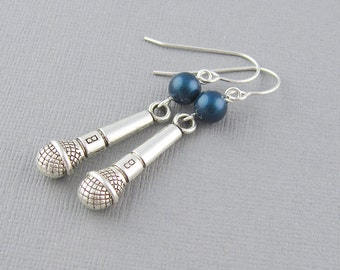 Silver microphone earrings, sterling silver earwires, swarovski pearls, pearl color choice, gift for her, gift for singer, music jewelry