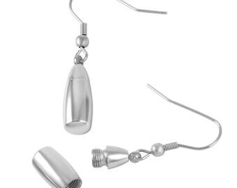Keepsake Drop Earrings  - Cremation Urn Ear Rings - Holds Ashes Fur Sand Hair Unique Vial Stash
